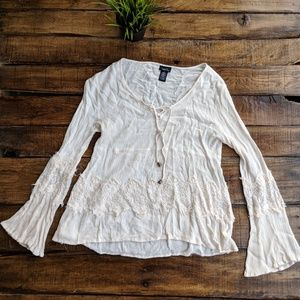 Rue 21 Gauzy Lace Boho Lace Up Bell Sleeve Top